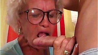 Brazzers xxx: Grey light granny gets a good dick to suck under her boner
