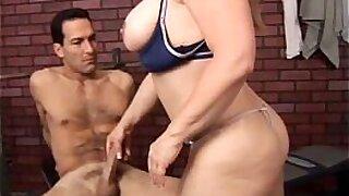 Brazzers xxx: Busty oriental hotty stroking mature guy cock