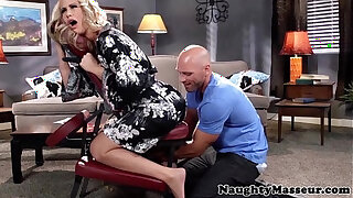 Brazzers xxx: Massaged milf Simone Sonay swallows cum