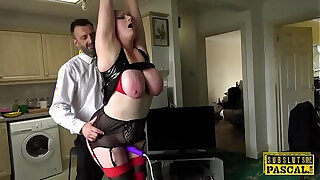 Brazzers xxx: Bound chubby Britt toyed while being fucked by dom