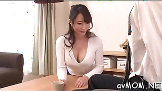 Brazzers xxx: Slim mom positions her tight cunt on hard cock whilst deepthroating