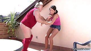Brazzers xxx: Older man fucking younger woman from behind