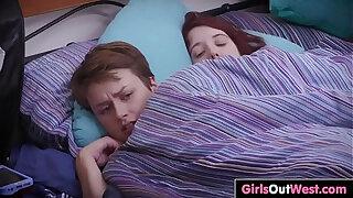 Brazzers xxx: Cute hairy girlfriends fuck in the bedroom