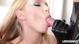 Brazzers xxx: Latex maniacs see Russian femdom babes Nesty Lucy Heart share subby stud