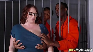 Brazzers xxx: Busty Mom Maggie Green Takes Two BBCs in a Jail