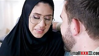 Brazzers xxx: Naughty tight teen arab films her ass covered in wet cum