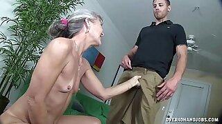 Brazzers xxx: Granny dildo sucking and fucking herself