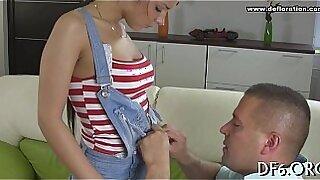 Brazzers xxx: Virgin teenAngelina meeting a happy man